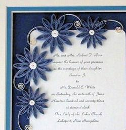 Quilled Custom Wedding Invitation Keepsake Personalized for the Bride & Groom