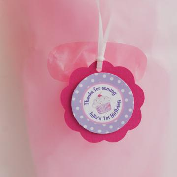 Cupcake Hot Pink and Purple Party Favor Tags