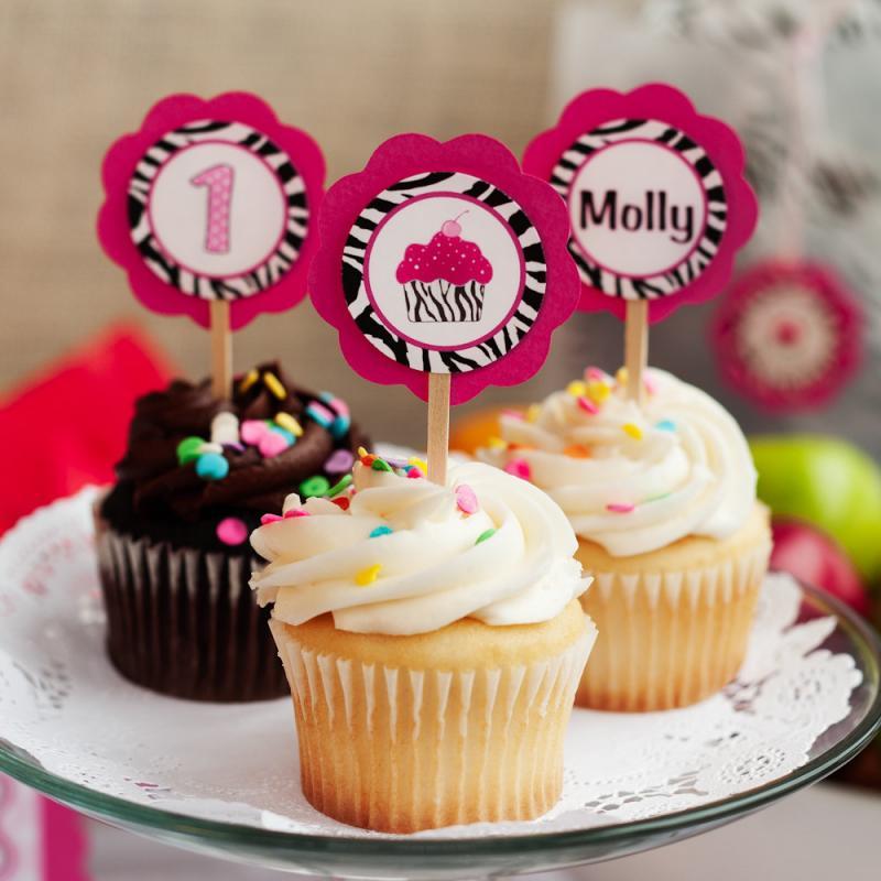 Zebra Birthday Party, Cupcake Toppers, Pink Zebra Cupcake Theme