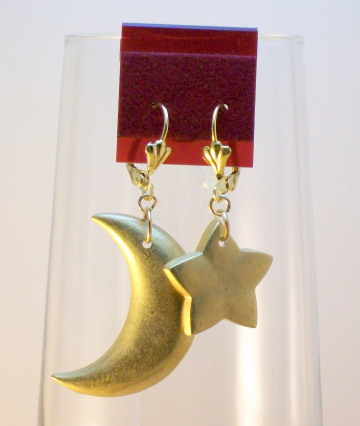 Gold Celestial Earrings - Moon & Star