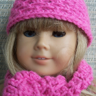 American Girl Doll Hat & Scarf Set - Bright Pink