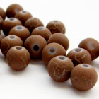 30 Matte Sandy Brown Crackle Round Beads  - 8 mm