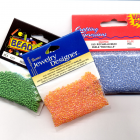 3 Packets Seed Beads 10/0 Orange Green Blue