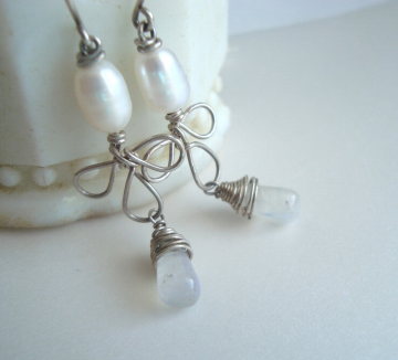 Pearl and Moonstone Earrings - Falling Blossoms