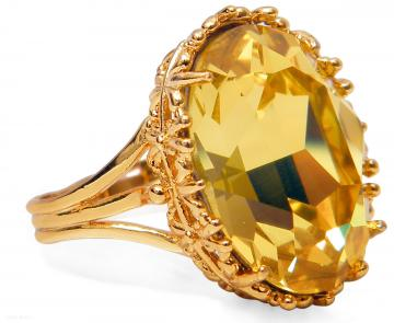 Golden Yellow Topaz Ring Swarovski Crystal Gold Plated