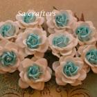 1-3/4 inches paper flowers in2 colors white&Blue-10 Flowers