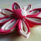 Pink and Creamy Ivory Kanzahsi Flower Hair Clip