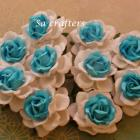 1-3/4 inches paper flowers in2 colors white&Turq-10 Flowers