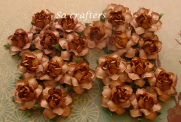 1-1/4 inches paper flowers 2 colors LightBronw&Brown-20 Flowers