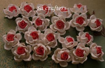 1-1/4 inches paper flowers in white&amp;-blossom pink-20 Flowers