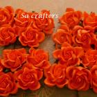 1-3/8 inches paper flowers in orange-20 Flowers