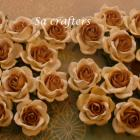 1-3/8 inches paper flowers in 2 colors Ivory&amp;LightBrown-20 Flowers