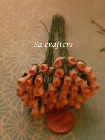 Mulberry Paper Flowers Bud in Peach-50 flowers
