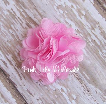 TWO Light Pink Mini Satin Mesh Flowers