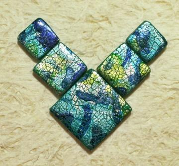 Handmade square tile bead set focal pendant polymer clay green blue silver