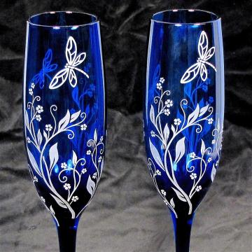 Dragonfly Wedding Champagne Glasses, Cobalt Blue Toasting Flutes