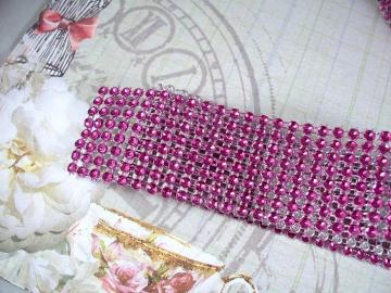 "1-1/2"" Wide Faux Jewel Ribbon (Fuchsia)"