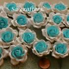 1-3/8 inches paper flowers in White&Blue-20 Flowers