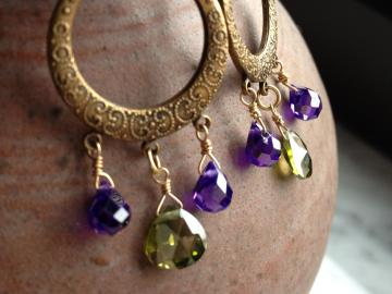 Purple and Green Cubic Zirconia Chandelier Earrings, faceted purple teardrop and heartshape briolettes