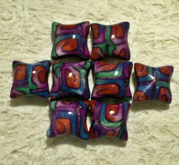 Set of 8 Pillow beads 20mm polymer clay shimmery rainbow swirls