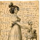 VICTORIAN Woman FRENCH SCRIPT antique postcard Illustration No. 1