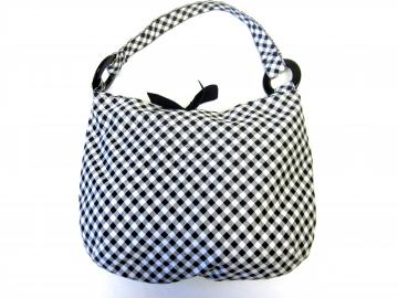 80s Casual Black and White Checkered Purse Retro Tote
