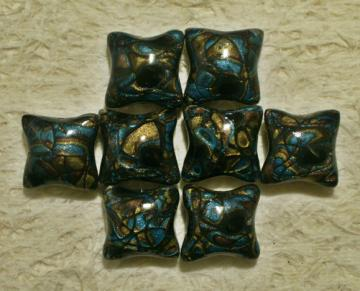 Set of 8 Pillow beads 20mm polymer clay shimmery gold blue black