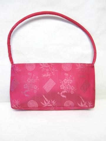 80s Oriental Purse Retro Tote 100% Silk