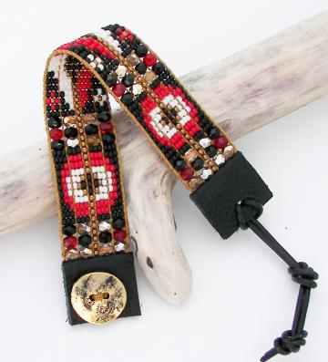 Black and Red Bead Loom Bracelet