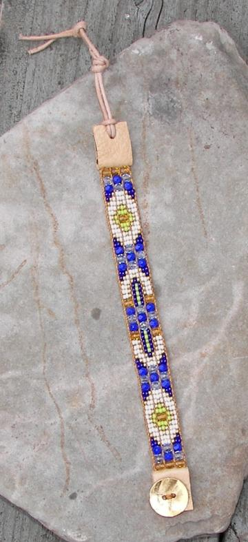 Blue/White Bead Loom Bracelet