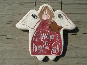 Teachers Gift Salt Dough Angel Ornament