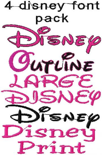Disney Inspired Machine Embroidery design Font, 4 PACK SET