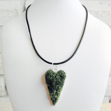 Natural Moss Heart Pendant  Love Earth