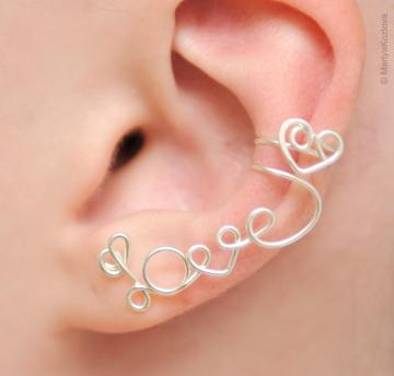 Left Ear Cuff &quot;LOVE&quot; with a heart - silver plated