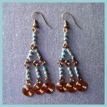 Bronze and Blue Chandelier Earrings