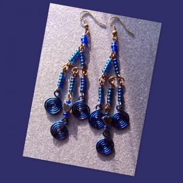 Blue Hematite Heart Chandelier Earrings