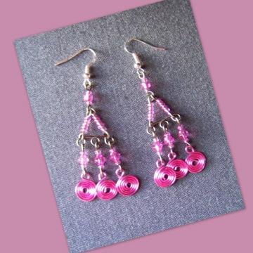 Pink Diamond Spiral Chandelier Earrings