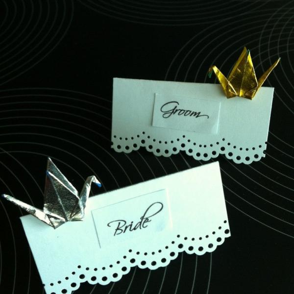 Gold or Silver Place Cards Crane for wedding engagement anniversary