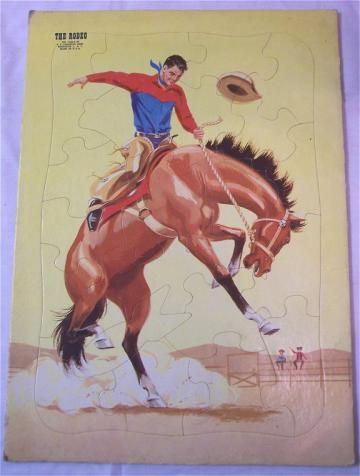 Frame Tray Puzzle The Rodeo Vintage 1960s E E Fairchild