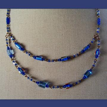Blue & Bronze Cane Double Necklace