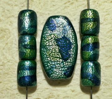 Bead Set - large oval focal pendant with chunky matching beads blue green turquoise silver polymer clay