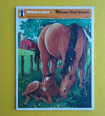 1970s Horse and Colt Frame Tray Puzzle