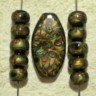 Bead Set - large oval focal pendant and matching rondelle beads gold bronze turquoise black polymer clay