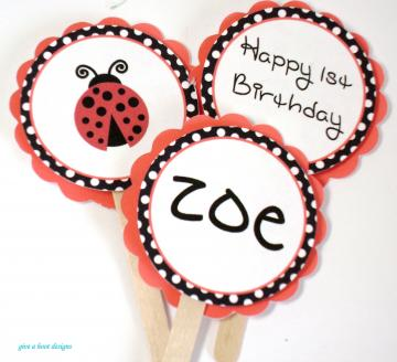 Lady Bug Theme Cupcake Toppers
