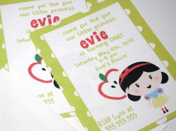 Custom Birthday Invitation - Snow White Theme