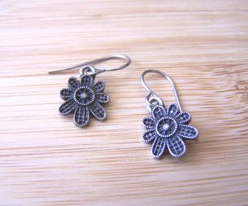 Cute as a Country Button Gunmetal Flower Earrings