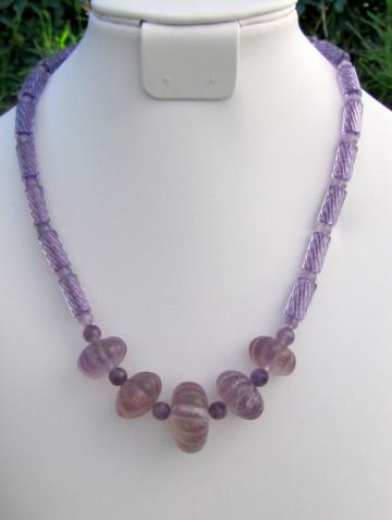 Amethyst and Cane Bead Necklace in Light Purple.