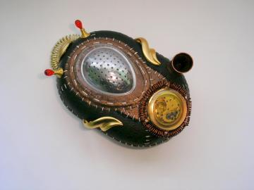 Handmade Steampunk Altered art sculpture Snail car