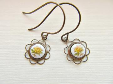 Dainty Vintage Yellow Rose Dangle Earrings in Antiqued Brass
