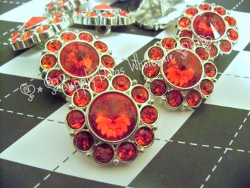 Red 25MM Rhinestone Button